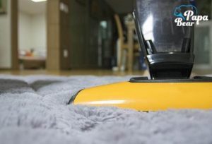 A professional vacuum cleaning of a thick carpet